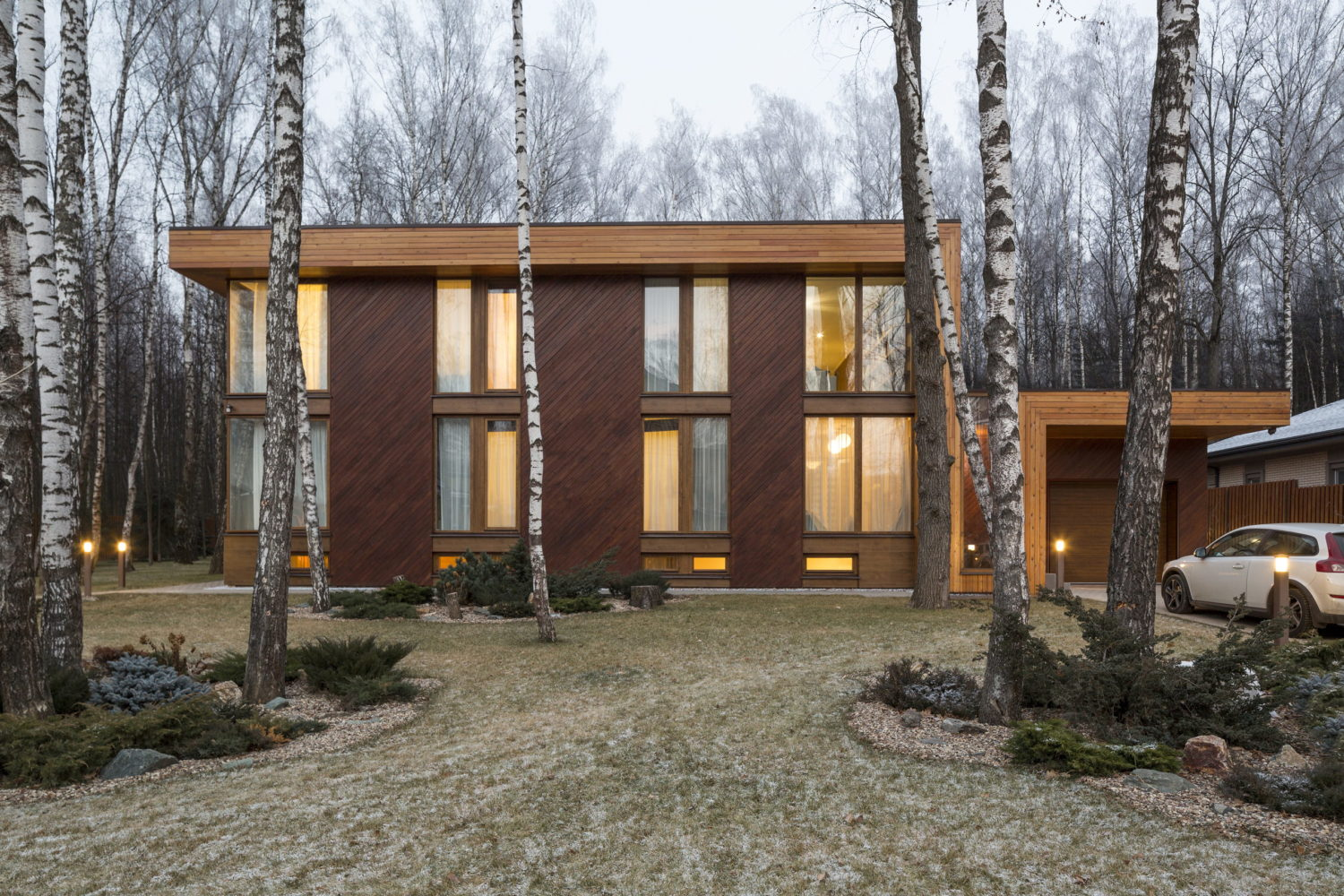 House in Birch Forest by Aleksandr Zhidkov