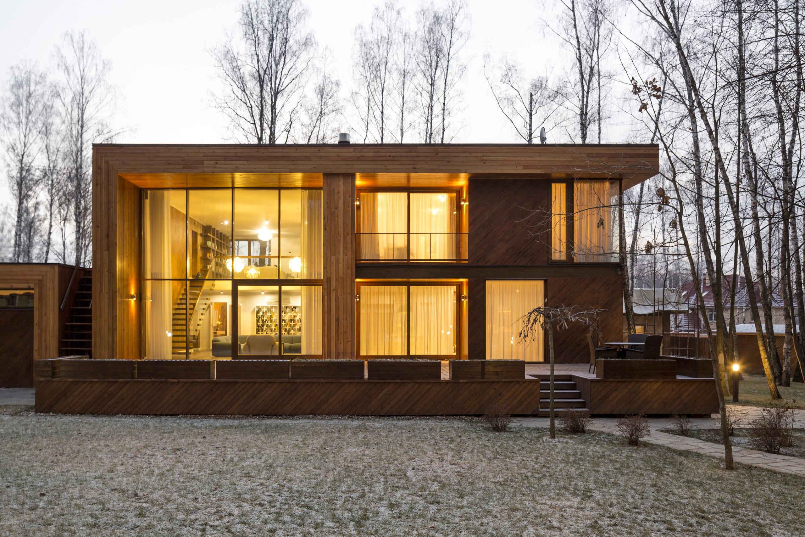 House in Birch Forest by Aleksandr Zhidkov