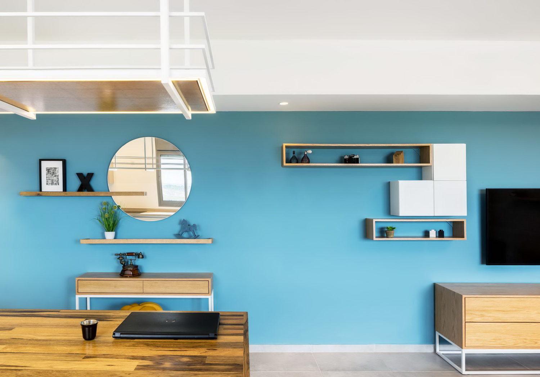 White Bricks | Blue Wall Apartment by EN Studio