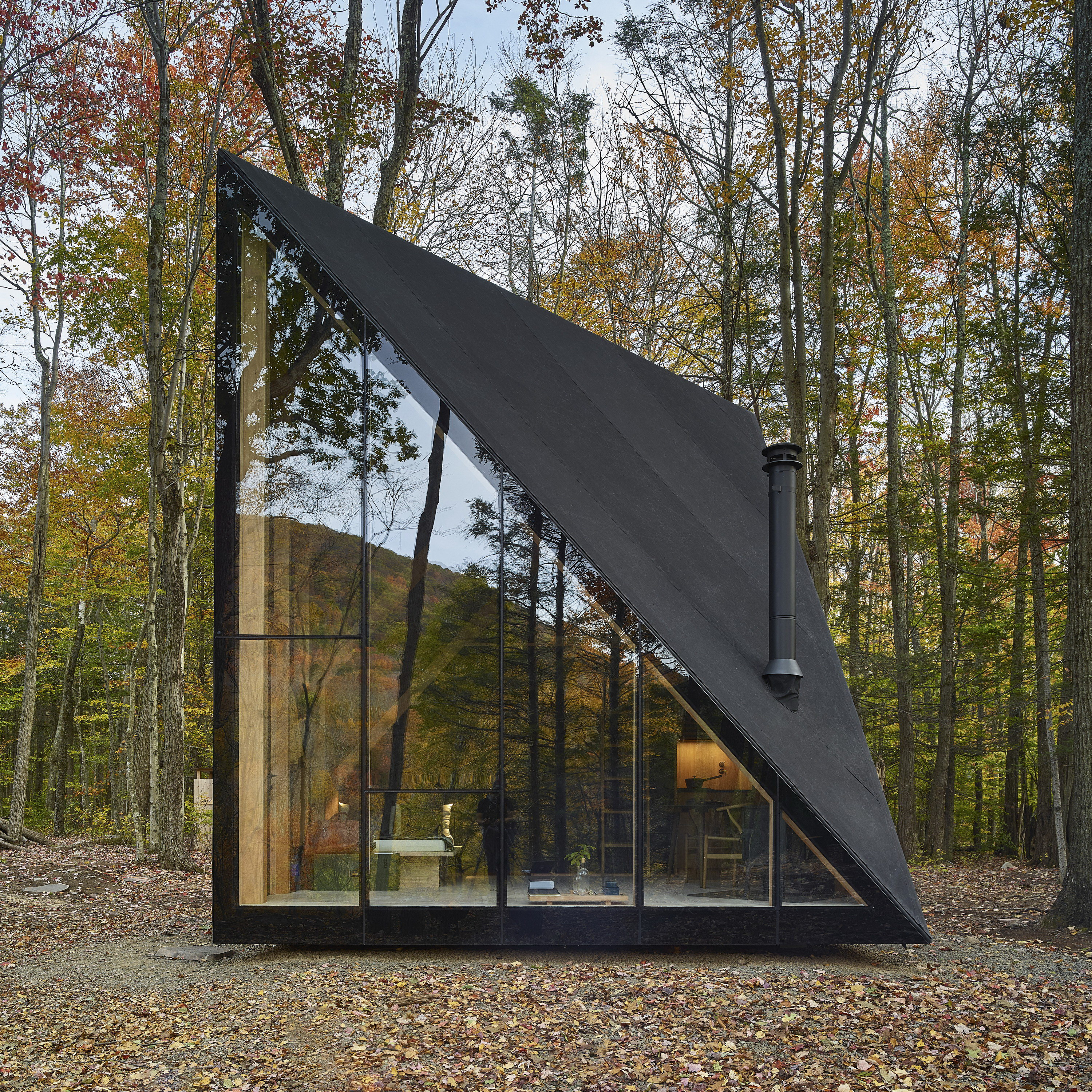 Small Home House Plans: Tiny Triangular Cabin In New York By BIG
