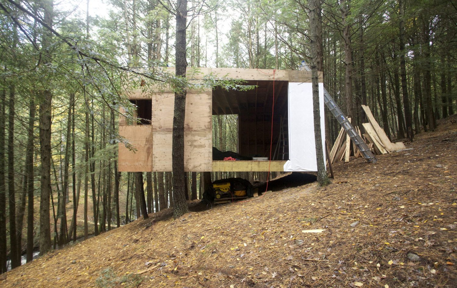 Half-Tree House | One-Room Cabin by Jacobschang Architecture