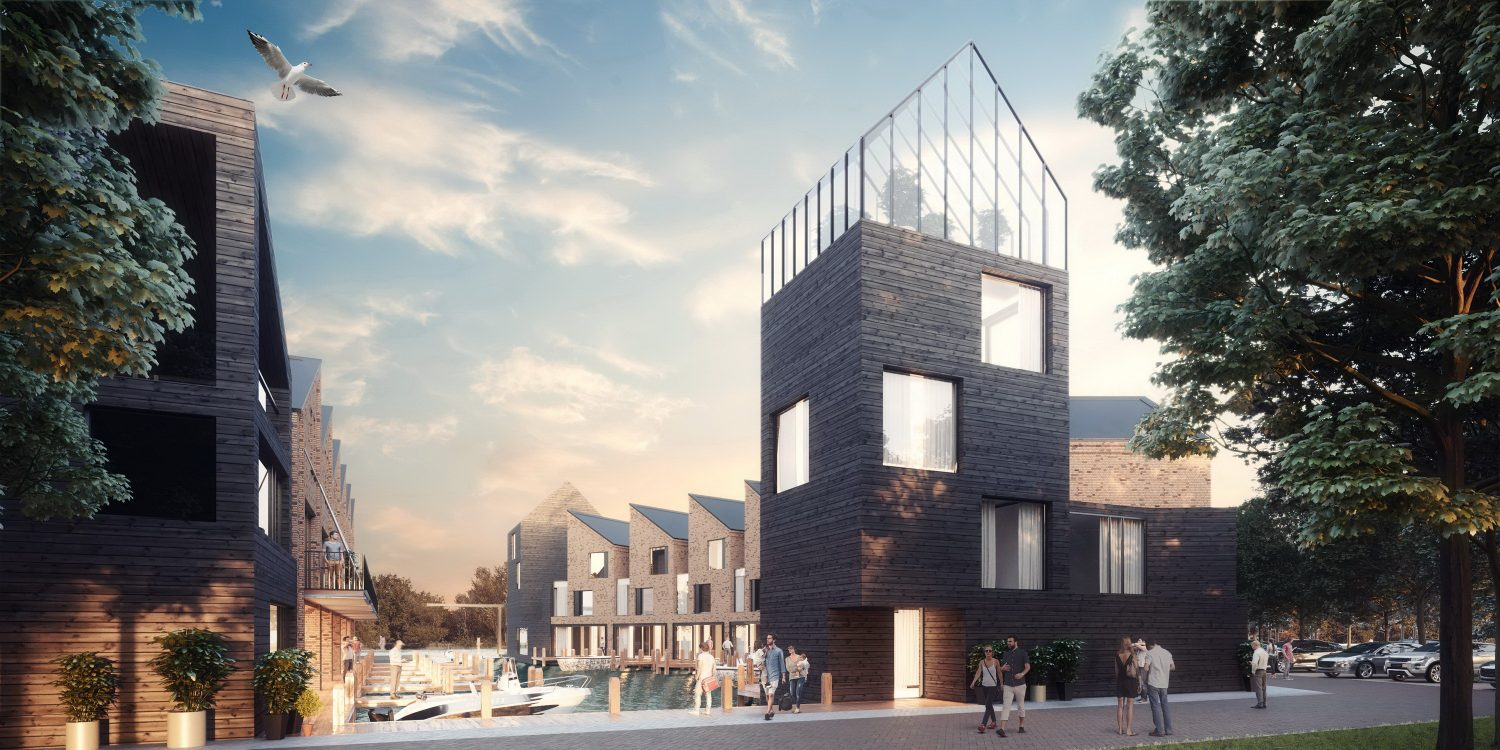 Water Villas in the Harbour in Leiden by Render Art