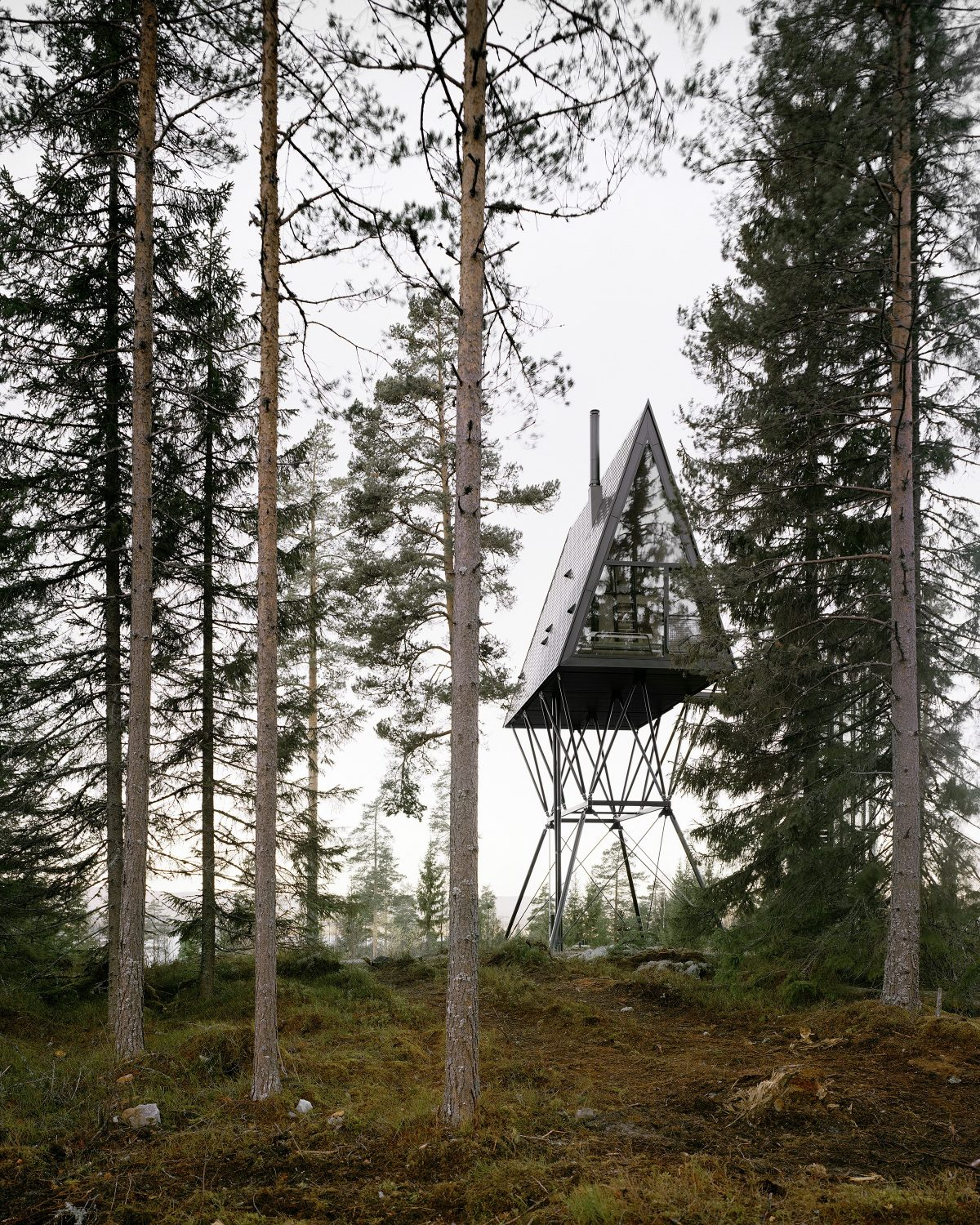 PAN Treetop Cabins | Black A-Frame Cabins by Espen Surnevik