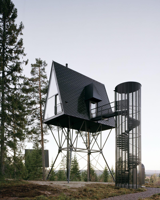 PAN Treetop Cabins | Black A-Frame Cabins by Espen Surnevik