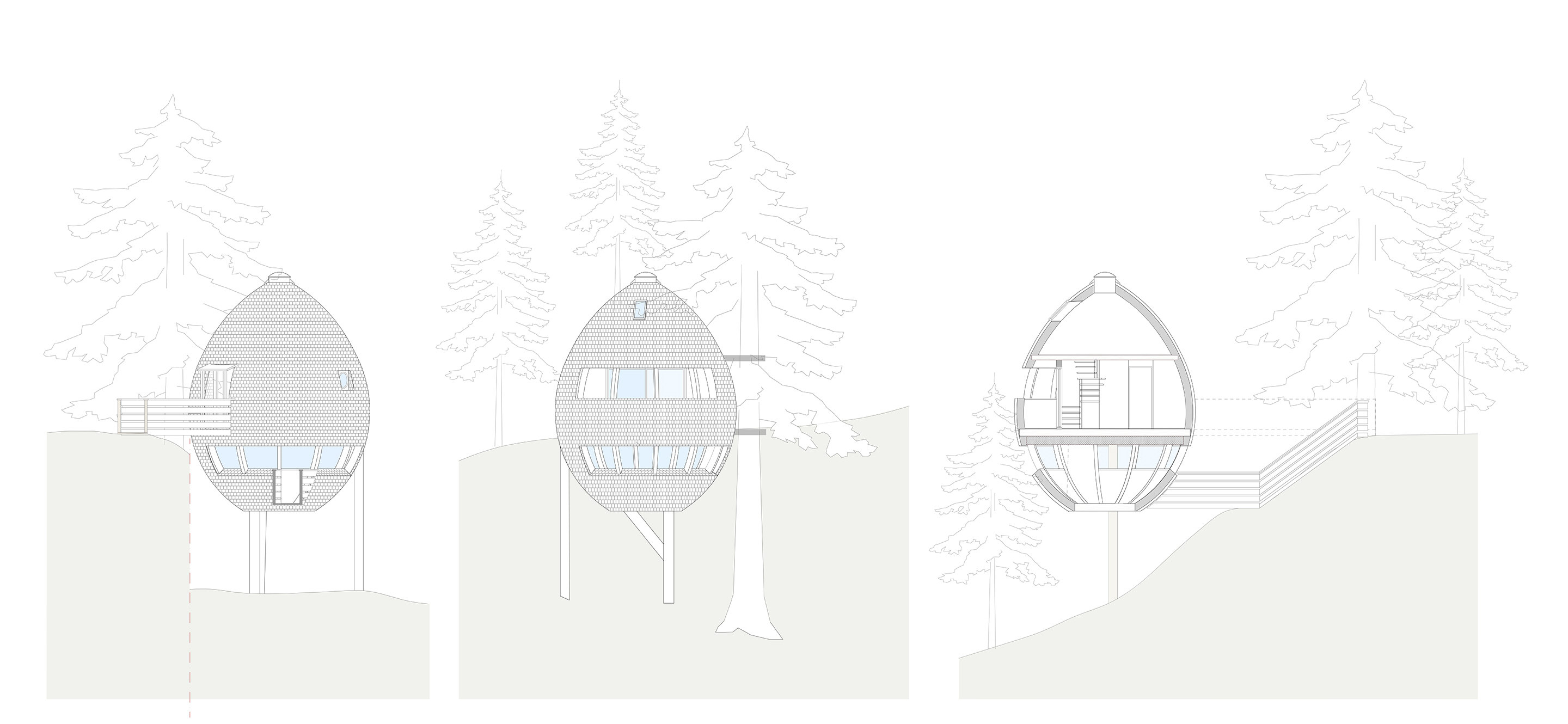 Pigna   Egg-Shaped Treehouses by Architetto Beltrame Claudio